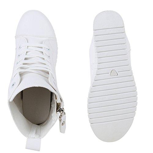 Damen Sneakers Keilabsatz Sneaker Wedges High Top Zipper Schuhe Weiß