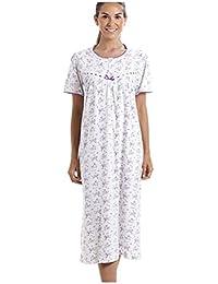 c862449cee1 Chemise de Nuit en Coton Manches Courtes Style Classique imprimé Floral  Blanc Violet