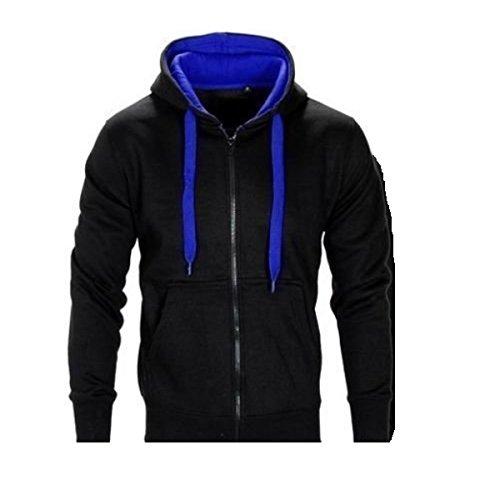 Mens nuova-Tuta sportiva con cappuccio, in pile, da Jogging, palestra, contrasto Pantaloni da corsa leggera multicolore  Nero/Blu XL