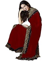 Swara Fashion Women's Georgette Multi Work Saree(SFA-3214-D_Red)