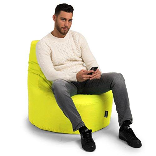 BuBiBag Gamer Kissen Lounge Sitzsack Sessel original Sitzkissen In & Outdoor geeignet fertig befüllt in 31 Farben (gelb) - 3