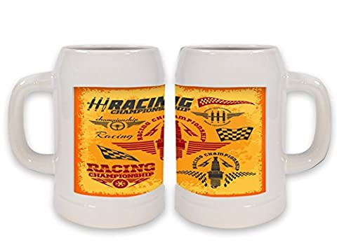 Beer Stein Nostalgic Racing Ceramic Print
