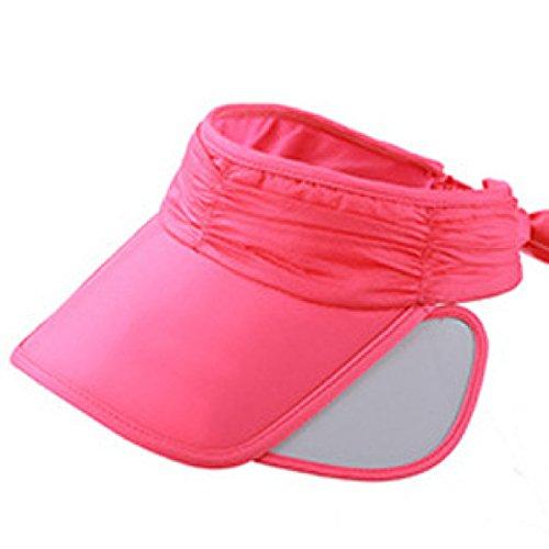 Chapeau Soleil D'été Femme Chapeau D'été Cyclisme Chapeau De Soleil Sports De Plein Air Casquette Rétractable Chapeau Vide red