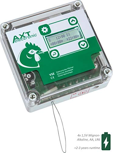 AXT-Electronic VSE - Automatische Hühnerklappe mit integrierter Zeitschaltuhr und 4xAA Batterien
