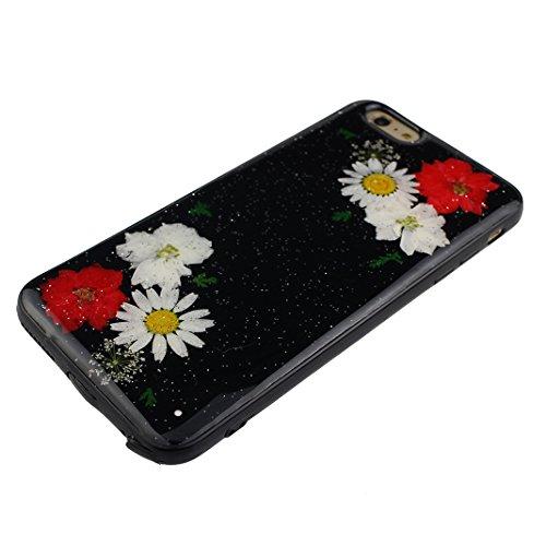 iPhone 6S Plus Noir Souple Coque avec Fleurs séchées, iPhone 6 Plus Arrière Etui, Moon mood® Ultra Mince Flexible TPU Silicone Etui Noir Coque avec Vraie Fleur pour Apple iPhone 6 Plus Téléphone Coqui Fleur-9