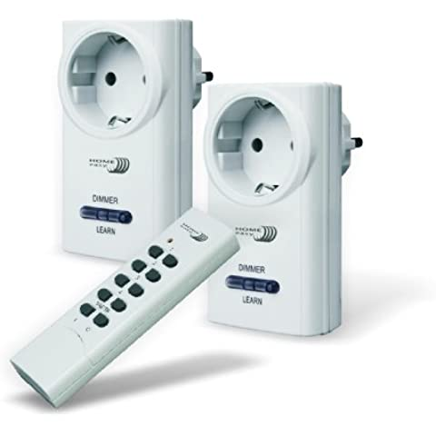 Home Easy HE803S - Set di 2 prese con regolatore d'intensità e 1 telecomando