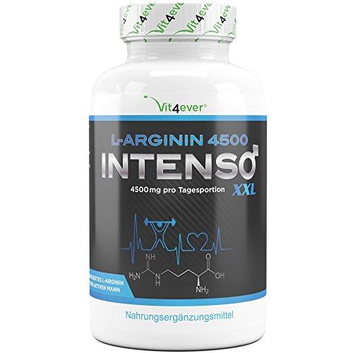 L-Arginin 4500 Intenso – 420 Kapseln – Hochdosiert mit 4500 mg reinem L-Arginin pro Tagesportion – Laborgeprüft – Reine Arginin Base Aminosäure – Premium Qualität