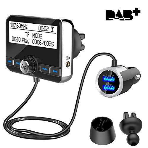 DAB+ Autoradio Empfänger Transmitter, Wonsidary Auto DAB Digital Radio Adapter mit FM Transmitter Bluetooth Freisprecheinrichtung Bluetooth Audio MP3, 3.5mm Aux-Out+USB KFZ Ladegerät+TF Musik Spielen