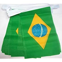 AZ FLAG Guirnalda 3 Metros 10 Banderas de Brasil 21x15cm - Bandera BRASILEÑA 15 x 21
