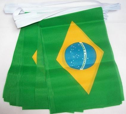 AZ FLAG FAHNENKETTE BRASILIEN 6 Meter mit 20 flaggen 21x14cm - BRASILIANISCHE Girlande Flaggenkette 14 x 21 cm