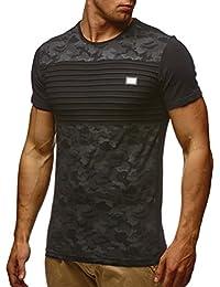 LEIF NELSON Herren T-Shirt Hoodie Longsleeve Kurzarm Shirt Sweatshirt Rundhals Camouflage LN405