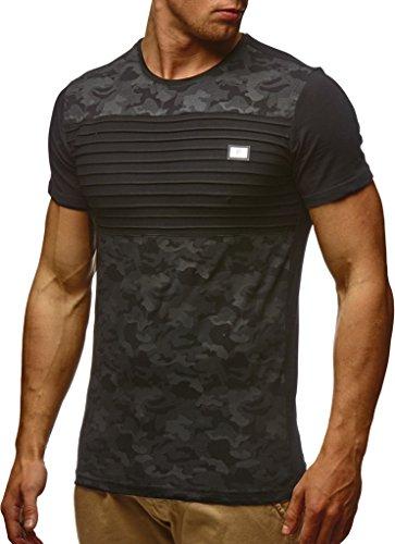 LEIF NELSON Herren T-Shirt Hoodie Longsleeve Kurzarm Shirt Sweatshirt Rundhals Camouflage LN405; Größe M, Schwarz