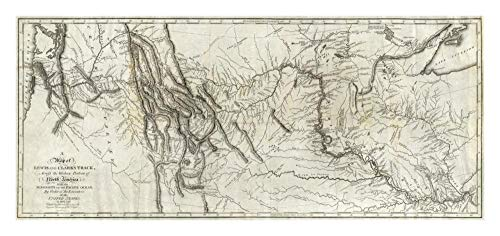 Global Gallery Map of Lewis and Clark's Track, Across The Western Portion of North America, 1814, Papierkunst, 81,3 x 38,1 cm -