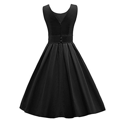 ILover Frauen 50s 60s Zurück V-Ausschnitt-Kreis Vintage-Rockabilly Swing-Party-Tanz-Kleid V034-schwarz