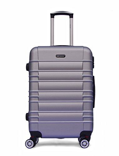 SHAIK SerieCLASSIC JFK Design Hartschalen Trolley, Koffer, Reisekoffer 4 Doppelrollen Zwillingsrollen, Zahlenschloss (Großer Koffer, Silber)
