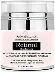 Jadole Naturals Beauty Retinol Moisturizer Cream For Face And Eye Area With Retinol Hyaluronic Acid Vitamin E And Green Tea.