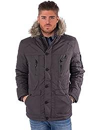 Kangol Mens Casual Parka Coat Fur Hood Winter Zip Up Wind Breaker Jacket
