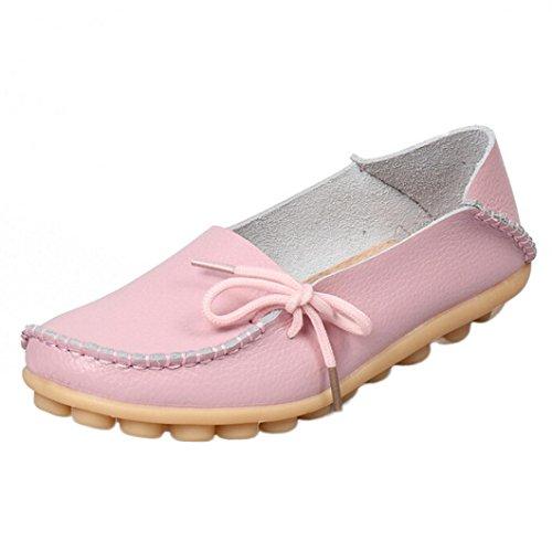 Women Loafers Shoes, SOMESUN Pattini di cuoio delle nuove donne dei mocassini Soft Leisure pattini casuali femminili Pink