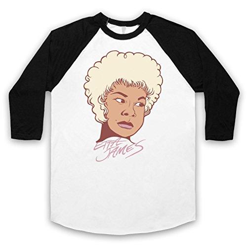 Inspiriert durch Etta James Illustration Unofficial 3/4 Hulse Retro Baseball T-Shirt Weis & Schwarz