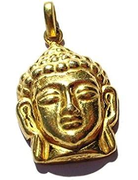 925 Sterling Silber - vergoldet - Anhänger Buddha - Kopf 22 x 36 mm mit Öse