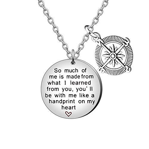 AGR8T Kompass-Halskette Graduation wertsteigerung Geschenke für Lehrer Frauen Herren–So viel von Mir gelernt von Ihnen