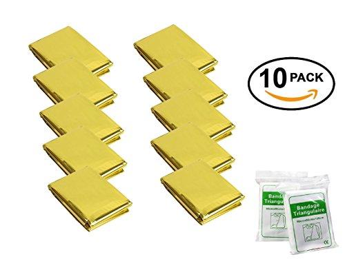 STEPS- Coperta in alluminio di emergenza(confezione da 10)210cm x 160cm , Colore: Oro, Design con fino a 90% del calore, Impermeabile, Termica Retention