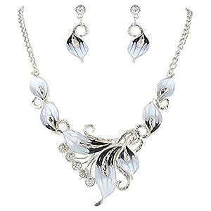 Ever Faith Damen Kristall Emaille Elegante Orchidee Blume Halskette Ohrringe Set Schwarz Silber-Ton