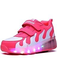 Mr.Ang Niños LED coloridos Zapatos con Ruedas Niña Zapatillas Deporte Patín Ruedas Zapatos con Luces para Mujer