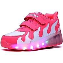 Mr.Ang Zapatillas Deporte Patín Ruedas Luminoso Formadores Flying Niños LED colorido con un adulto Rueda Intermitente Zapatos