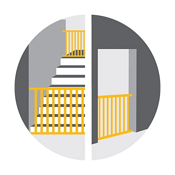 Safety 1st Quick Close ST Extra Secure Metal Child Safety Gate Stair Gate Extension Can be Extended Up to 136cm for Clamping White 73-80cm (from 6-24Months) Safety 1st High quality stair gate made of metal, is suitable for children between approx. 6up to 24months. Extra secure: with SecurTech system, and double locking system. Practical clamping–no drilling or screws required. 7