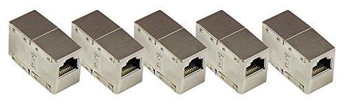 Good Connections Cat.6 RJ45 Patchkabel-Kupplung Adapter - 5er SPARSET - RJ45 Buchse an Buchse - VOLLGESCHIRMT im METALL-Gehäuse - Internet LAN Kabel Verbinder Adapter RJ45 Kupplung - Verlängern Sie Ihr Ethernet DSL Patchkabel