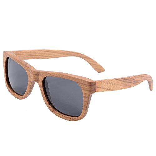 SHINU Quadratische Holz Sonnenbrille polarisierte Linse Pear Wood Frame Augenschutz 6136(pear, grey)