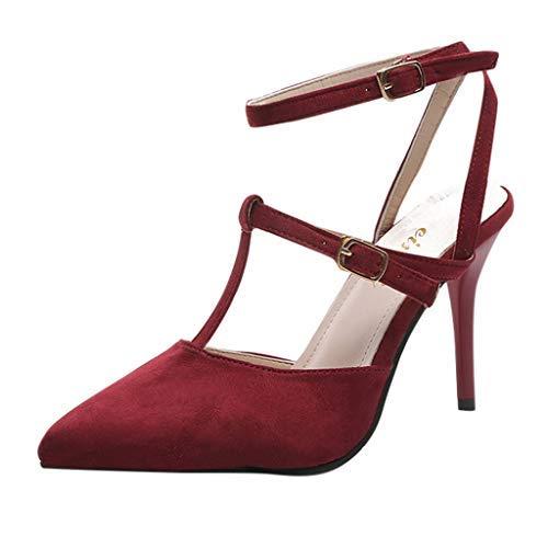 Elecenty Sandalen Damen Schuhe,Schuh Sommerschuhe Shoes Sandaletten Frauen Wildleder High Heels Hoch Absatz Niet Badesandalette Pumps Elegante Knöchelriemchen Strandschuhe Elegant (37, Rosa)