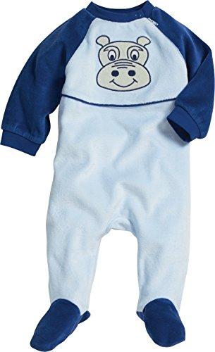 Playshoes Unisex Baby Schlafstrampler Schlafanzug Schlafoverall Nicki Hippo, Gr. 56, Blau (original 900)