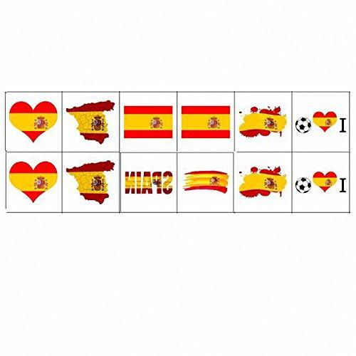 Nationalflagge Tattoos, Temporäre Tätowierungen der Weltmeisterschaft, Russland 2018 Aufkleber Flagge Aufkleber für Fußball Spiel Gesicht Körper Dekor 12 Blätter (Spanien)