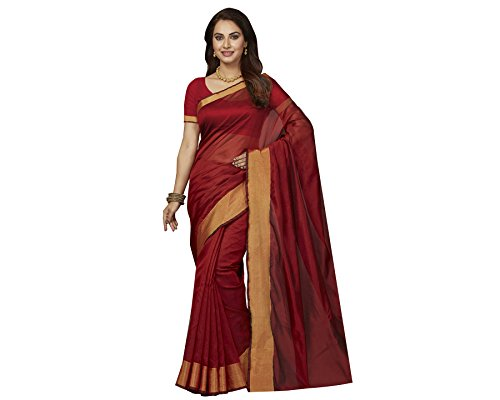 Ishin Poly Silk Red Party Wear Wedding Wear casual Daily Wear Festive Wear Bollywood New Collection Woven with Zari Border Latest Design Trendy Women's Saree/Sari  available at amazon for Rs.424
