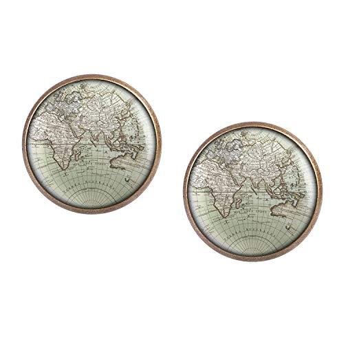 ar mit Motiv Welt Erde Land-Karte Europa Afrika Asien Ozeanien bronze 16mm ()