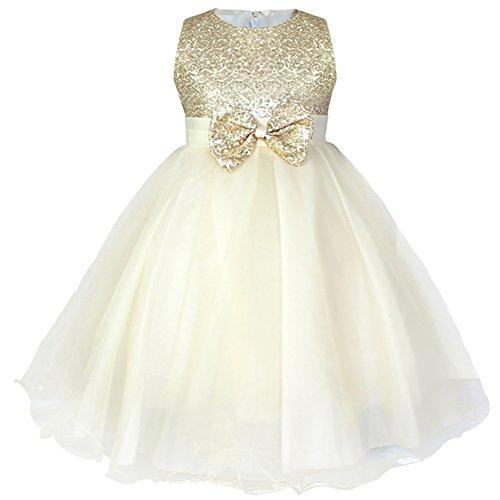 WAWALI Bowknot Pailletten M?dchen Kleider Elegant Prinzessin 8 (Up Cinderella Kleidung Dress)
