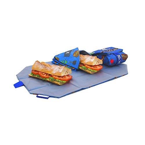 Roll 'eat BOC' n 'Roll, Kids Piraten, Porta Sandwiches wiederverwendbar, Tasche Lunchtasche, Sprechblase, BPA-frei, blau (Blaue Tischdecke Roll)