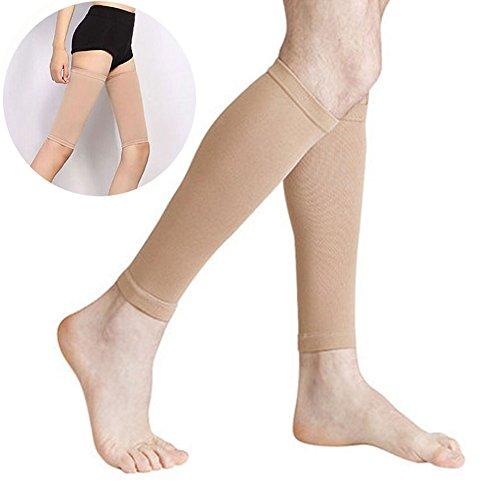 Calcetines de compresión para mujer de Favolook, calcetines para el muslo (sin pie), para la rodilla y pantorrilla, previenen de la fatiga, alivian las hinchazones, previenen de las varices, venas varicosas y mejoran la circulación, UK20170921003, beige