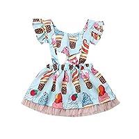 Infant Newborn Baby Girls Ruffled Sleeve Short Dress Ice Cream Printed Princess Party Tutu Sundress Summer Outfit Clothes