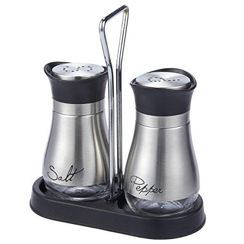 Juvale set sale e pepe–in acciaio inox di alta qualità con fondo di vetro e 4'supporto 10,2x 15,2x 5,1cm–4oz.