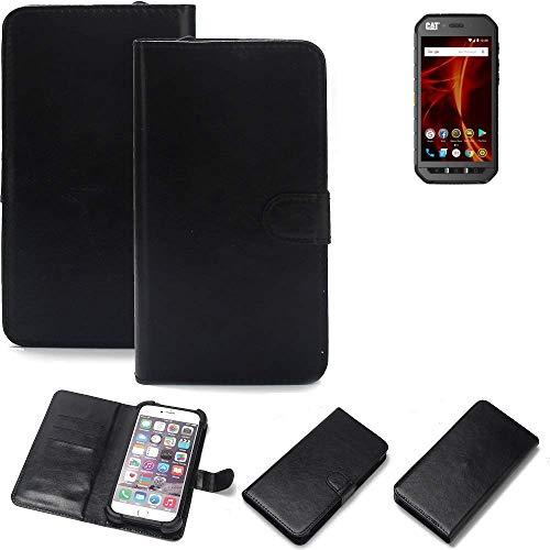 K-S-Trade 360° Wallet Case Handyhülle für Caterpillar Cat S41 Dual-SIM Schutz Hülle Smartphone Flip Cover Flipstyle Tasche Schutzhülle Flipcover Slim Bumper schwarz, 1x