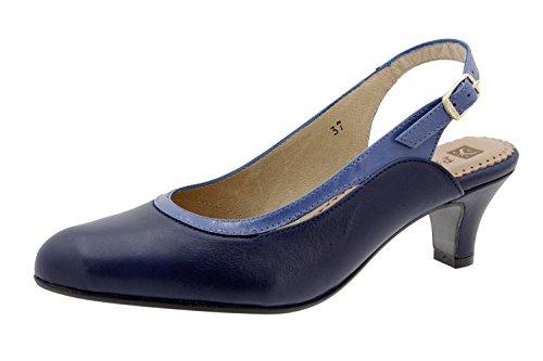 Chaussure femme confort en cuir Piesanto 6231 escarpin comfortables amples Marino