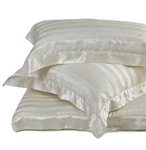 URBANARA Florenz 100% Pure Mulberry Silk Sateen Striped Square Pillowcase - White - 65 x 65 cm