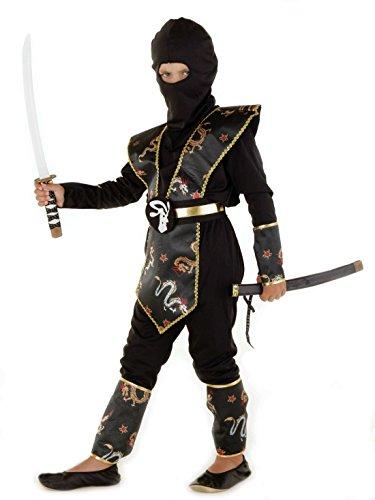 Dragon Ninja Kostüm Kinder gold-schwarz Halloween Karneval Gr. 110 bis 140, Ninja Kostüme für Kinder Jungen (Kostüme Für Ninja Halloween)