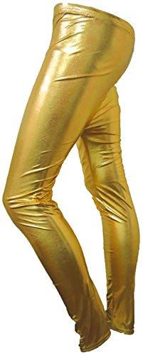 Janisramone Mesdames Leggings Disco Stretch brillant américain métalliques Wet Look Jeans/Pantalons *