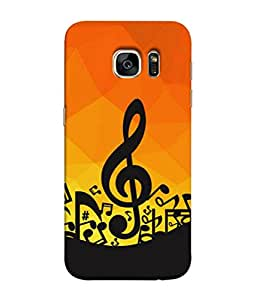 FUSON Designer Back Case Cover for Samsung Galaxy S7 Edge :: Samsung Galaxy S7 Edge Duos :: Samsung Galaxy S7 Edge G935F G935 G935Fd (Disco Inferno Abstract Background With Musical Notes)