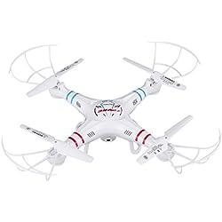 RC Quadcopter drone con cámara de 0,3 MP HD y función de retención de altura, FPVRC X5C-1 2.4G sin cabeza 3D volar volar avión One key Home helicóptero de control remoto (blanco)