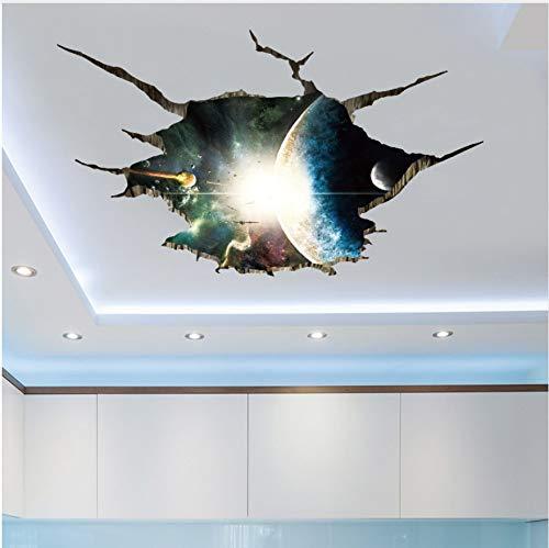 HAJKSDS Pegatinas Pared Espacio Exterior Planetas 3D Pegatinas De Pared para Sala De Estar Dormitorio Decoración del Piso Vinilo DIY Decoración para El Hogar Tatuajes De Pared